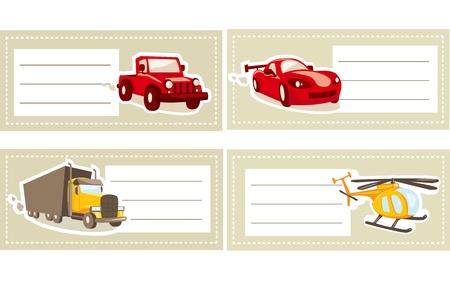 Back to school stickers with vehicles Vector