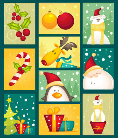 tag: Collection of Christmas cards Illustration