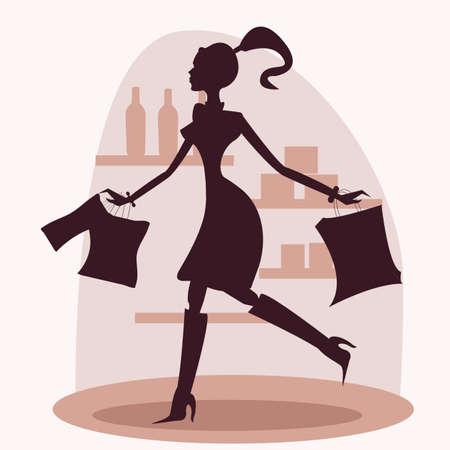 shopper: Shopping Frauen silhouette Illustration
