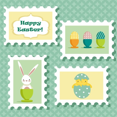 Easter postal stamps set Vector