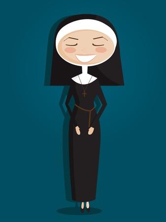nun: Retro cartoon nun Illustration
