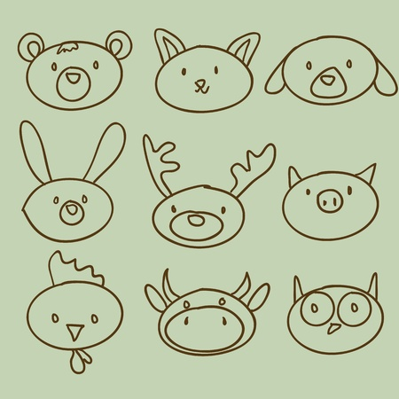 cartoon animal head doodle, vector illustration Vector
