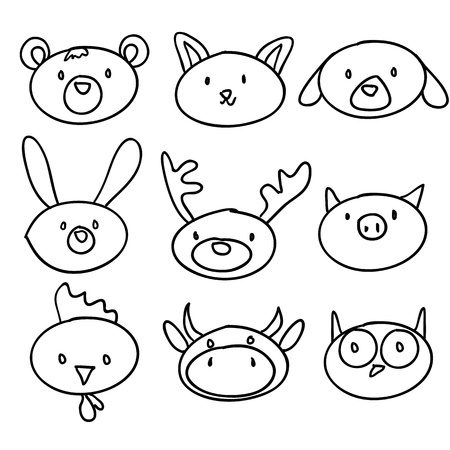 cartoon animal head doodle, vector illustration Stock Vector - 9237607