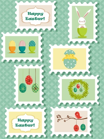Easter postal stamps set, vector illustration      Vector