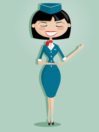 Retro cartoon stewardess, vector illustration