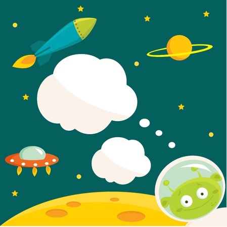 astronauts: In space party invitation with place for your text