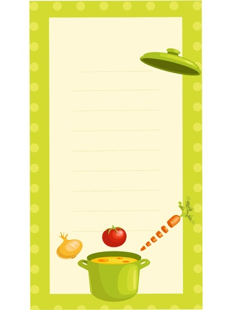 sopa: tarjeta de receta de moda antigua, ilustraci�n vectorial