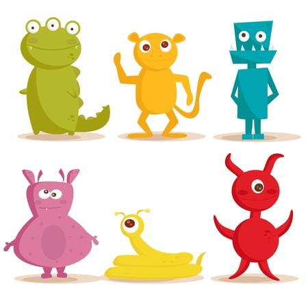 Cute monsters , vector illustration Çizim