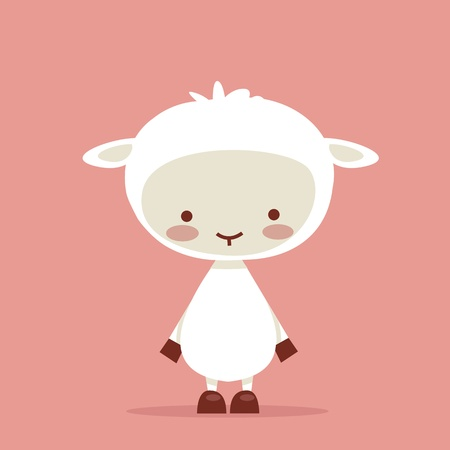 pasen schaap: Cute lamb character, vector illustration