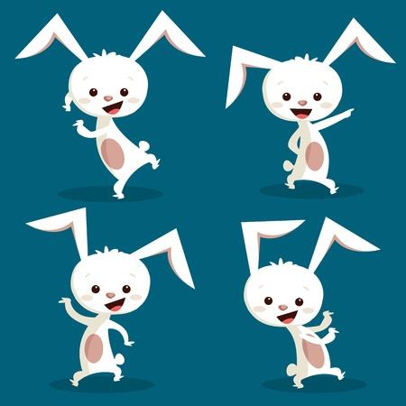 sevimli: Cute dancing bunny, vector illustration Çizim