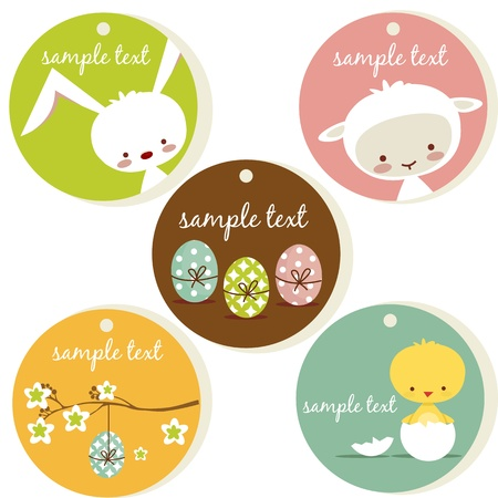 Cute easter tags, with place for your text Illustration