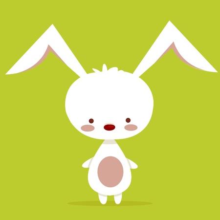 lapin blanc: Caractère Mignon lapin, illustration vectorielle Illustration