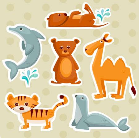 nutria caricatura: Ilustraci�n de animales pegatinas de dibujos animados Vectores