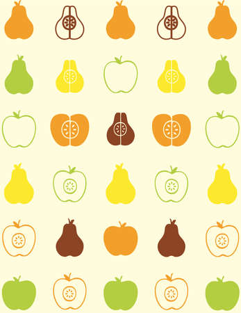 seamless pattern of fruit - apple and pear Stock Vector - 9297405