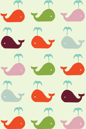 retro seamless pattern with whales