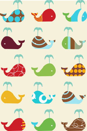 vector whales retro seamless pattern Illustration