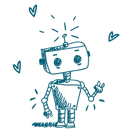animation: Doodle robot vector Stock Illustratie