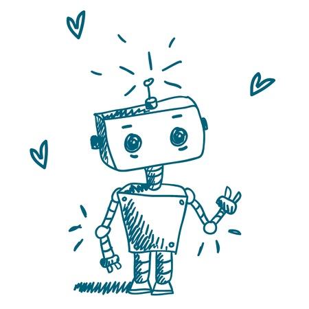 robot: Doodle robota wektorowe