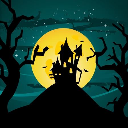 Ilustración de Castillo de Halloween, ilustración vectorial