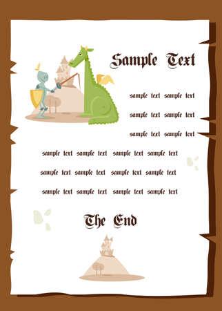 cartoon knight: Fairy tale background, vector illustration