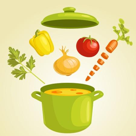 pots pans: Vegetable soup with ingredients,  illustration
