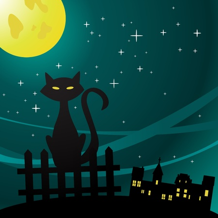 moonlight: Vector illustration of a cat in the moonlight