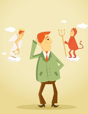 dilemma: Angel and devil counselor vector illustration