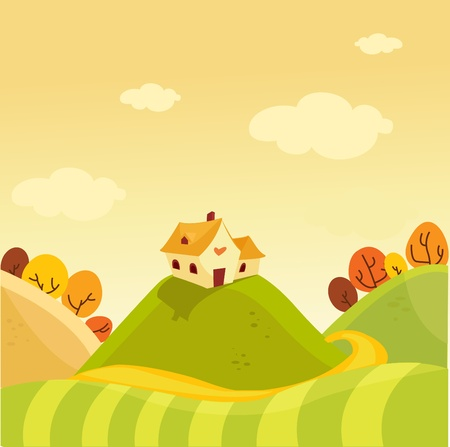 yellow landscape:  Autumn background vector illustration