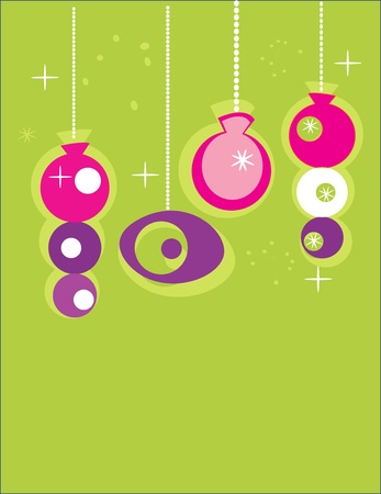 Retro Christmas Ornaments with place for your text Vector