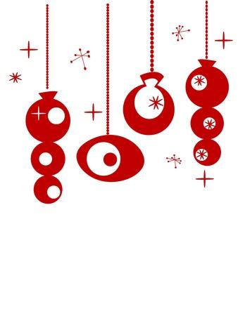 appendere: Addobbi natalizi retr� con posto per il vostro testo Vettoriali