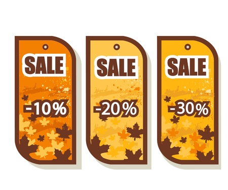 october: Set of 3 autumn sale tags, vector illustration