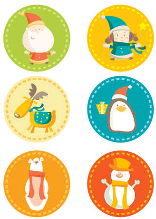 penguin:  colorful christmas stickers vector illustration