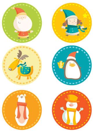 pinguinos navidenos:  Ilustraci�n de vectores de coloridos adhesivos de Navidad