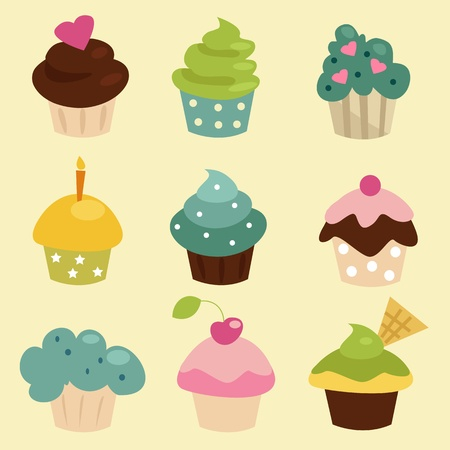 Colorful cupcake set , vector illustration