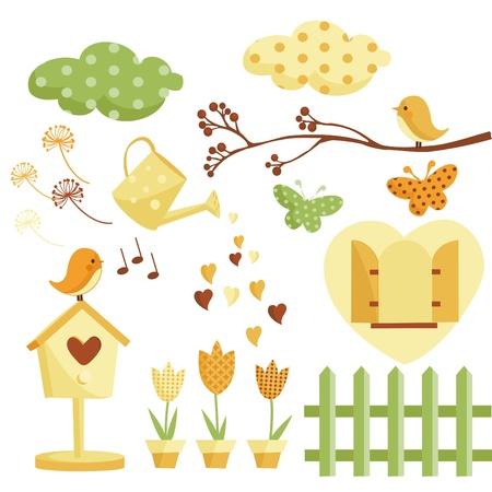 Retro spring elements vector illustration