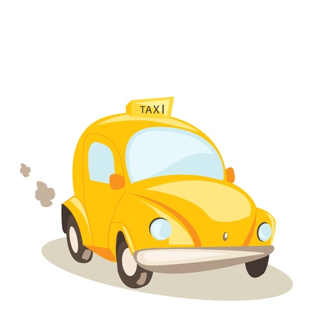 yellow taxi car, vector illustration