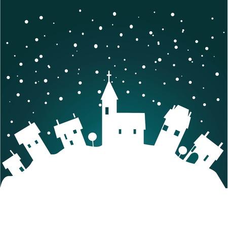 Winter village, vector illustration Vector