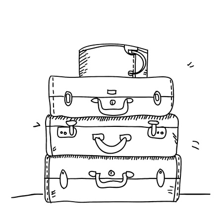 composition notebook: Scribble suitcases on paper  Illustration