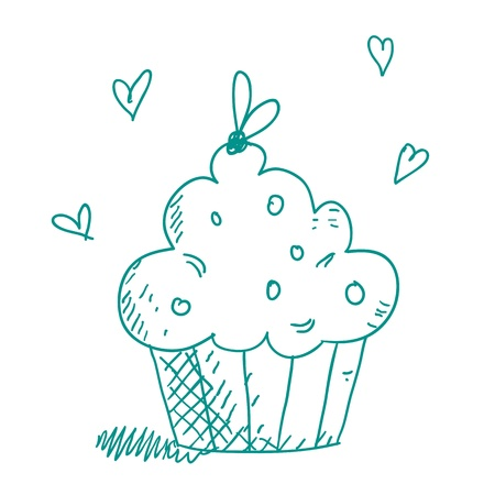 cupcakes isolated: cupcake sketch  Illustration