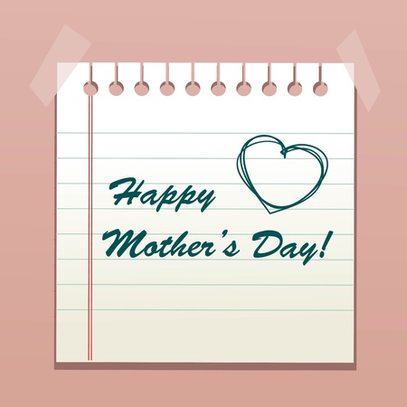 calendar day: Happy Mothers Day message, vector illustration