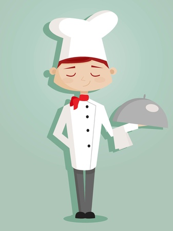 Retro cartoon chef 일러스트