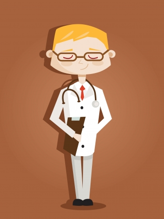 Retro cartoon doctor Vector