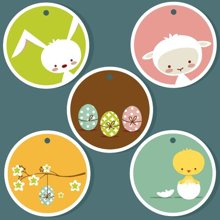 spring lambs: Cute easter tags, with place for your text Illustration