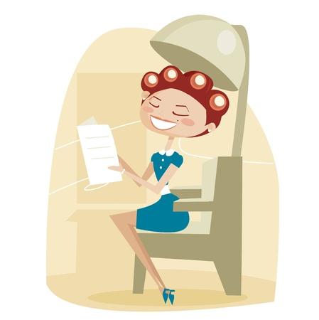 peluquerias: Mujer de dibujos animados retro, en la peluquer�a Vectores