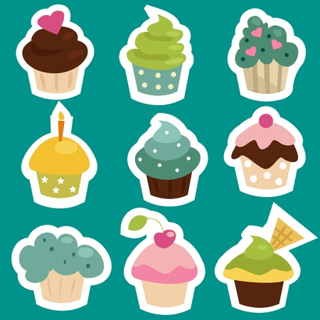 cute cards: Cute cupcake stickers, vector illustration