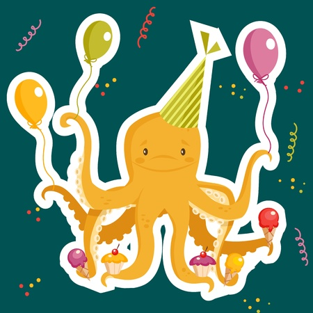Birthday party card, vector illustration Vector