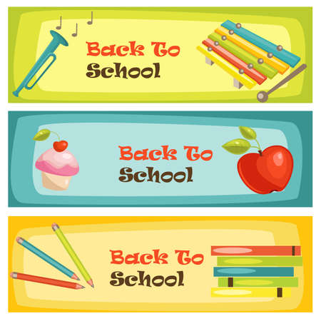 Back to school banners, vector illustration Stock Vector - 9717306
