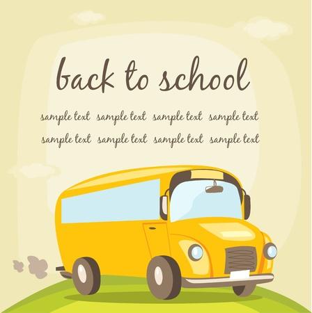 art back: School bus, vector illustration