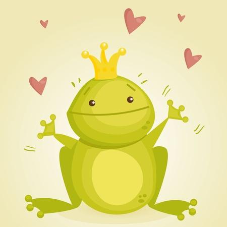 Cute cartoon frog prince Vector