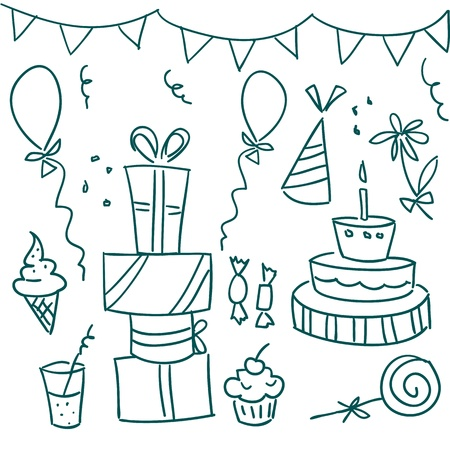 doodle art clipart: Birthday party doodles